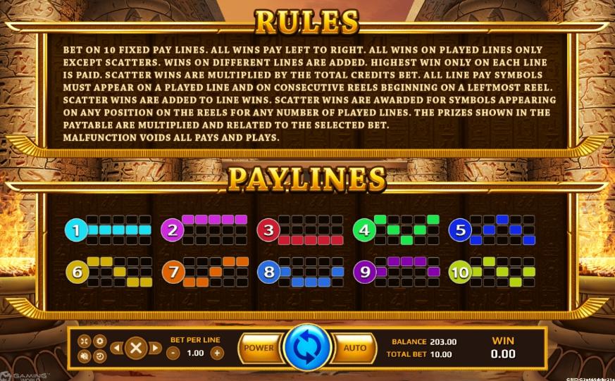 Lines ภายในเกม Horus Eye slot